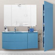 Mobile bagno sospeso bermuda moderno completo di colonna e specchiera 110cm