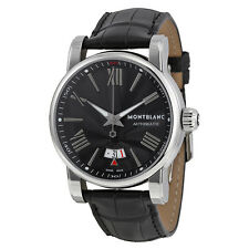 Montblanc Star Black Dial and Black Leather Strap Automatic Mens Watch 102341