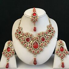 RED GOLD INDIAN KUNDAN COSTUME JEWELLERY NECKLACE EARRING CRYSTAL SET BRIDAL NEW