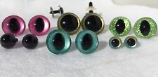 6 PAIR Safety Eyes Unique Hand Painted 10mm to 24mm Teddy Bear Doll, Sew, Dragon