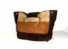 OASIS GENUINE SUEDE TOTE BAG IN CHOCOLATE/CARAMEL/FUDGE BROWNS SIZE MEDIUM