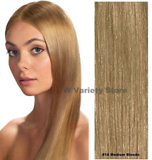 MEGA THICK DELUX FULL HEAD CLIP IN REMY HUMAN HAIR EXTENSIONS MEDIUM BLONDE #18