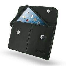 Pdair Hand Made Black Leather Business Pouch Case Cover for Apple iPad Mini