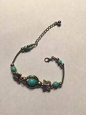 "NEW 7-7.5"" TIBEAN SILVER AND TURQUOISE BRACELET WITH OWLS-B226"
