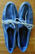 Mens SPERRY Top Sider Boat Shoes A/O 2-Eye White Cap Leather Denim blue 11.5 M
