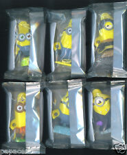 2015 SET 6 MINIONS movie ornament keychain General Mills cereal box toy figure