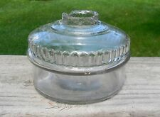 """Vintage Clear Glass Oil Lamp - 3"""" Tall & 4  1/4"""" Across  1880s-1890s"""