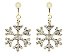 CLIP ON EARRINGS - gold plated drop snowflake earring with crystals - Millie G