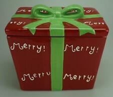 Large Striking Red & Green Christmas Themed Porcelain Biscuit Barrel AE15
