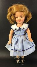 "12"" Vintage Ideal Shirley Temple Vinyl Doll Blue Dress Sleep Eyes 10D"