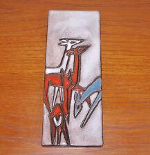 Pottery Keramik Ruscha Wandplatte Motiv Rehe deer gemarkt
