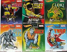 HOT WHEELS ~ MARVEL Complete Set of 6 Pop Culture Nostalgia Die-Cast Cars 2014