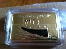 1 OZ GOLD CLAD TITANIC ANNIVERSARY BAR *2012* NEW!
