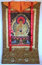 EARTHTOUCHING GOLD LEAF TIBET BUDDHA SILK FRAME THANGKA PAINTING #198196