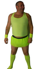 3 pc Neon Flo Yellow Fun Stiched Up Stag Party Tutu Set Fancy Dress Costume