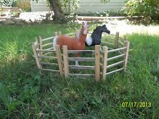 """Breyer Horse Traditional scale wooden corral - pasture fence - recycled wood 6"""""""