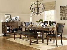 LANSING - 6pcs TRANSITIONAL BROWN RECTANGULAR DINING ROOM TABLE & CHAIRS SET