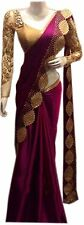 NEW ARRIVAL WINE COLOUR  SATIN SILK  SAREE