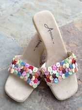 ANNIE BUTTON SHOES SANDALS SLIDES MULTICOLORED 6.5 CUTE!