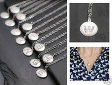 Urban Trend Pave Initial Letter W Silver Plated Round Disc Pendant Necklace