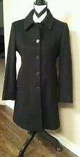 Anne Klein Women's 100% wool Long Winter dress Coat Lined Black sz 2P
