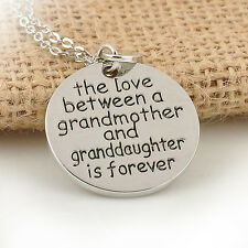 Grandmother Granddaughter Silver Love Quote Charm Round Heart Pendant Necklace