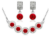 Red & Silver Crystal Balls Bridal Jewellery Set Drop Earrings & Necklace S682
