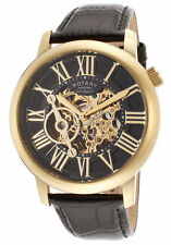 NEW RotarY GLE000016-10 Skeleton  Automatic Yellow Gold Limited Ed. Black