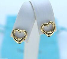 $750 Tiffany & Co Elsa Peretti 18K Solid Yellow Gold Open Heart Stud Earrings