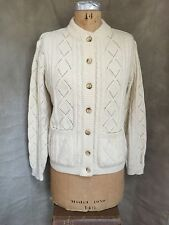 Quality Off-White Cream Ivory CABLE KNIT CARDIGAN SWEATER Angora Cashmere M/L