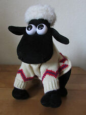 FAB VINTAGE 1980s *SHAUN THE SHEEP* PLUSH SOFT TOY IN JUMPER WALLACE AND GROMIT