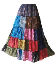 Thai patchwork skirt - Gypsy - Multi -   Hmong  -  Rayon - Tiered - Hippy - Boho