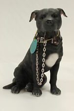 Black Staffie Staffordshire Bull Terrier Dog Ornament 'Walkies' by Leonardo NEW