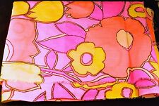 "Fabric Floral Remnant 60s 70s Style Bright Colors Cut 30"" x 42"""