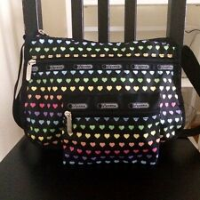 **NEW**LE SPORTSAC Black/Multi-Color Heart Crossbody Bag with Maching Pouch