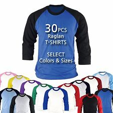 30PCS Raglan Baseball Blank T-shirts Tops Custom Team Uniform Wholesale Bulk LOT