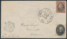 #15L18 ON COVER W/ 3¢ #11 GOING TO WILMINGTON, DE BS3140