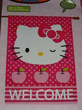 "Hello Kitty Large House/Garden Pink Welcome Flag 28""X40""-New In Package"