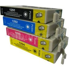 4 Replacements for Epson T1291 T1292 T1293 T1294 Printer Ink Cartridges