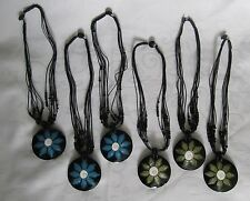 Wholesale Lot of 6 Hand Crafted Shiva Shell Button Clasp Resin Disk Necklaces