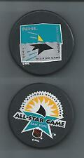 1995 & 1997  NHL All-Star Game  San Jose CA  2-Souvenir Hockey Puck Lot