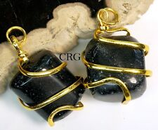 Gold Plated Spiral Wrapped Tumbled BLACK TOURMALINE Pendant (TU26DG)