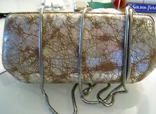 NWT Rebecca Minkoff Washed Silver  Leather Old Fling Convertible Clutch $265