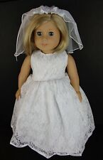 White Lace Wedding Dress with Fancy Veil - for 18 Inch Dolls