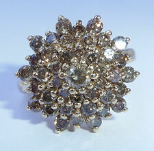 9ct Gold 1.95ct Champagne Chocolate Diamond Cluster Ring, Size P