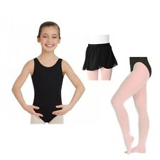 Capezio 142C Girl's Intermediate (6x-7) Black Tank Leotard Skirt and Pink Tights