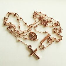 9ct 9kt rose Gold rosary beads necklace Miraculous medal & Cross Italy UnoAerre