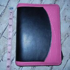 "Franklin Covey 365 Organizer Zipper Binder Pink Black Compact Inserts 6.5""x8.5"""