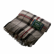 EDINBURGH ALL WOOL 100% Wool Scottish Blanket Rug Thomson Grey