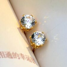 18k Yellow Gold Filled Earrings Shiny ear stud 5mm round gem CZ GF Women Jewelry
